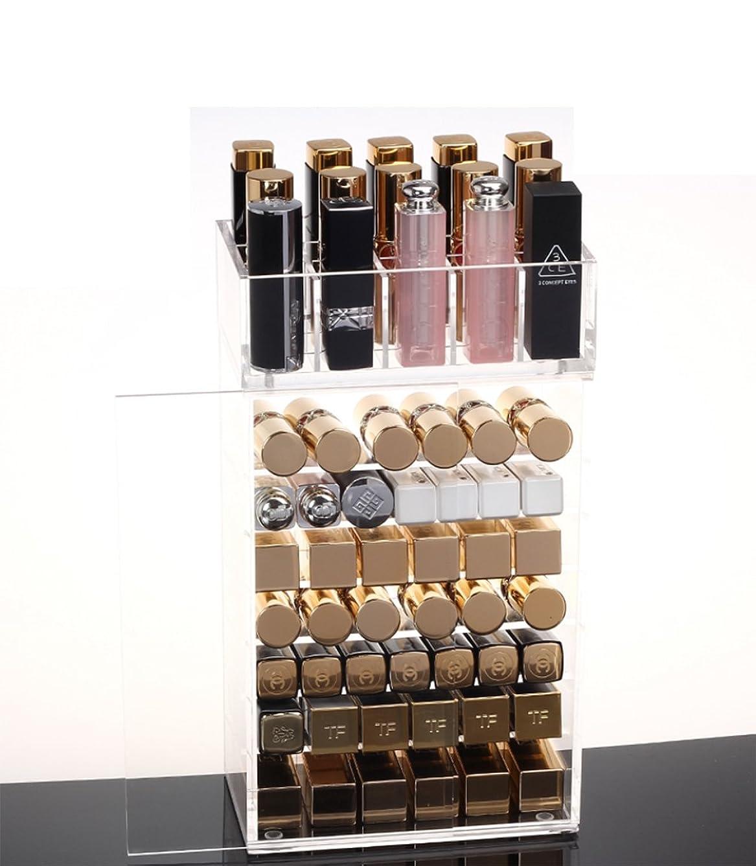 縫い目苛性宣言SZTulip 化粧品収納ボックス メイクケース メイクボックス 口紅収納 ネイルカラー小物入れ レディース  透明アクリル 防塵ドア付き コスメボックス