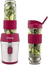 H.Koenig frambozenrood Mini-Blender/Smoothiemaker SMOO10, bpa-vrij, 300 W, 2 Flessen van 570ml met Reisdeksel