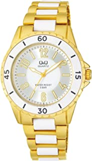 Q&Q Women's White Dial Stainless Steel Band Watch - F461-004Y