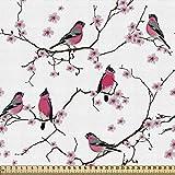 ABAKUHAUS asiatisch Gewebe als Meterware, Dompfaff Vögel