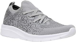 CUSHIONAIRE Women's Dane Stretch Knit lace up Sneaker +Memory Foam & LiteSole Technology