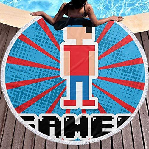 W-wishes Runder Handtuchhalter Blaue und rote Streifen Boom Beams Retro 90S Style Spielzeugjunge mit Kappe Mehrzweck 150cm Durchmesser