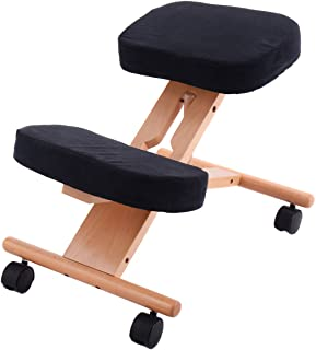 Giantex Knee Chair Ergonomic Office Kneeling, Adjustable Relieving Back and Neck Pain Thick Comfortable Cushion Stool,Home Office Desk Kneeling Chairs (Natural)