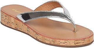 Qupid Women Metallic Leatherette Cork Low Wedge Thong Sandal GF64