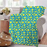 ERshuo Yellow and Blue Luxury Special Grade Blanket Stars Motif In Various Size Spiritual with Kids Effects Cute Design Multi-Purpose Use For Sofas Etc. Yellow Violet Blue 60x80IN