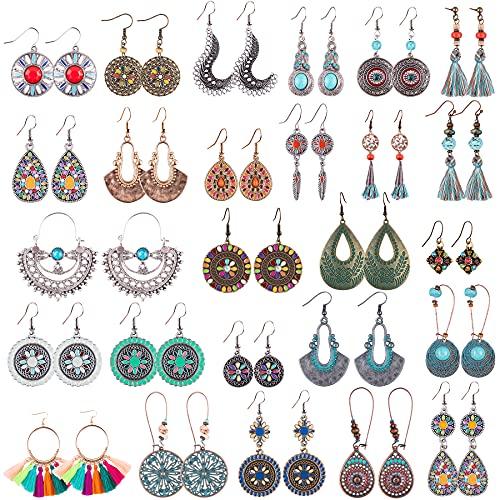 Duufin 26 Pares Bohemios Pendientes Vintage Boho Pendientes Earrings para Mujer, 26 Estilos