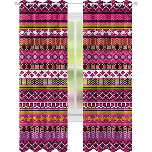 Cortinas para sala de estar con motivos rosados, borde folk W52 x L84, reducción de ruido
