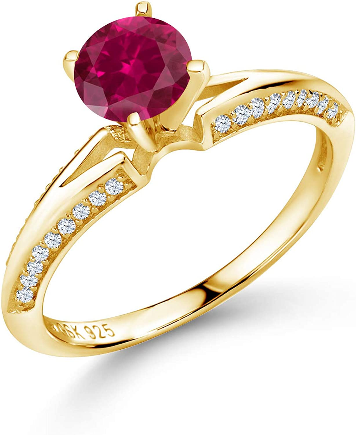 Gem OFFicial Stone King 1.58 Ct Import Round Red Created Ruby 18K Gold Yellow Pl