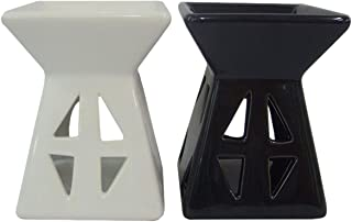 Hosley Set of 2 Geometric Ceramic Oil Warmers Black and White 4.7 Inches High is Ideal for Spa and Aromatherapy Use Brand Essential Oils and Fragrance Oils W1
