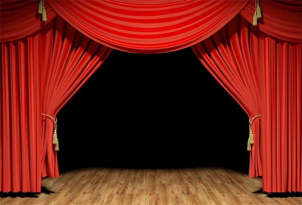 10x6.5ft Home Theatre Photo Backdrop Red Drapes Sound Audio Red Sofa Empty Living Room Ciname Film Screen Photography Background Kids Adults Family Portrait Photo Studio Props