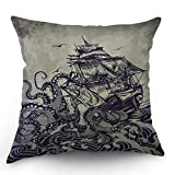 Kraken Pillow Cover Vintage Sail Boat Ocean Waves Octopus Throw Pillow Case 18 x 18 Inch Home Textile European Style Cotton Linen Cushion Cover for Sofa Bed Purple Black