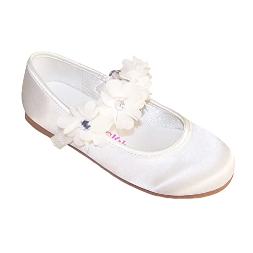 ad376cac8 Girls Children Ivory Satin Flower Girl Bridesmaid Confirmation and Special  Occasion Ballerina Shoes