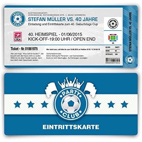 Einladungskarten zum Geburtstag (50 Stück) als Fußballticket Karte Fussball Einladung Ticket in Blau
