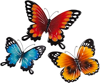 Fox Valley Traders Indoor/Outdoor Metal Butterflies, Set of 3 – Blue, Yellow, and..