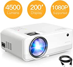 Mini Projector, APEMAN 4500 Lumen 1080P Supported Projector, 200'' Display 50000 Hrs LED Life, Dual Speakers Portable Projector, Compatible with HDMI, USB, VGA, TF, PS4, Laptop, DVD for Home Cinema