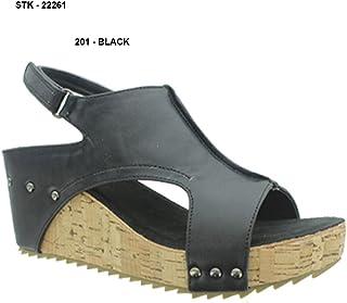Pierre Dumas Giselle-1 Womens Slingback Open Toe Platform Wedge Sandals
