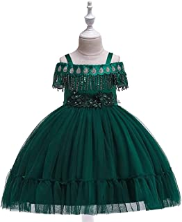 SEASHORE Princess Dress Girl Bow Princess Dress lace Wedding Party Performance Piano Costume 4-12 Years Old (Color : Green, Size : 4-5T)