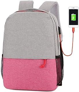 Dengyujiaasj Backpack, USB Charging Cable Backpack Shoulder Bag Laptop Bag. (Color : Pink)
