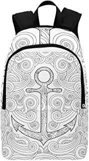 Coloring Page Anchor Waves Zentangle Inspired Casual Daypack Travel Bag College School Backpack for Mens and Women