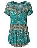 Vinmatto Women's Summer Short Sleeve V Neck Flowy Tunic Top(3XL,Multi Green Blue)