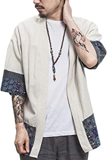 Uomo T-Shirt Cardigan Unisex Stampato Maglietta con Tasche Kimono Giapponese Casual Moda Primavera-Estate