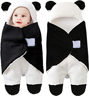 Baby Hooded Swaddle Blanket, Yinuoday Newborn Baby Receiving Blanket Fleece Swaddle Sleeping Bag Sack for Baby Boys and Girls (Black)