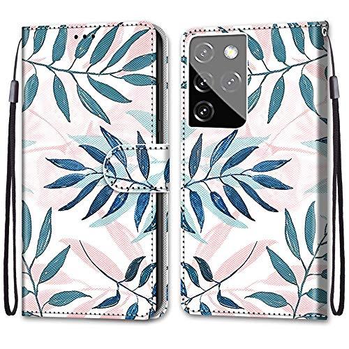 KimsCase Funda para Samsung Galaxy S21 Ultra 5G Libro Piel Cuero Silicona con Tapa y Cartera Magnetica Dibujos Resistente Carcasa Case Antigolpes TPU Bumper Kawaii Flip Cover