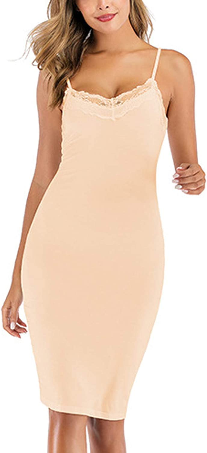 LONEA Women's Sexy Slim Fit Sleep Dress Solid Color Lace Top V Neck Camisole Sleep Dress Lingerie Nightgown