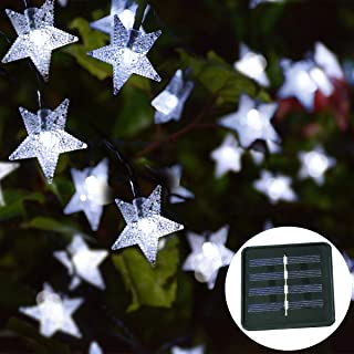 Windpnn 30ft Solar Powered Star String Lights, 50LED Solar Fairy Lights Outdoor Waterprooof for Christmas, Party, Wedding, Home, Garden, Patio Decoration (Cool White)