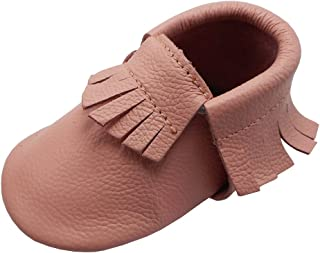 YIHAKIDS Baby Moccasins Genuine Leather Infant Toddler Moccsin with Soft Sole Anti-Slip Prewalker Tassel Baby Shoes Multi-Colors