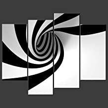 Canvas Print Wall Art Paintings For Home Decor Black And White Stripe In Circle 4 Pieces Panel Modern Giclee Stretched Framed Artwork The Abstract Pictures Photo Prints On Canvas For Room Decoration