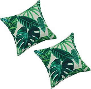 PICCOCASA Pack of 2,Green Leaves Throw Pillow Cover,Pattern Cushion Cover Cotton Plant Pillow Case Square Pillow Protectors Home Decorative for Sofa/Couch/Bed/Car(18 x 18 Inch/45 x 45cm, 3)