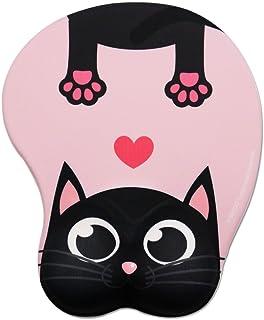 Cute Cat pad-exco Colorido Pink Cute Cat Mouse Pad con soporte de muñeca Ergonómico Mouse Pad con gel Soporte de muñeca, base de computadora antideslizante de PU