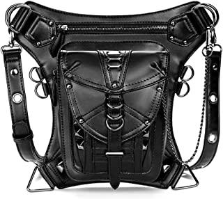 Leg Strap Multifunctional Retro Punk Motorcycle Bag PU Material Ladies Shoulder Messenger Bag Female Pockets Chest Bag Motorcycle Bag Black Size 21 * 17cm Dynamic