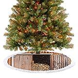 Gonna per albero rustica con legna da ardere, villaggio, giardino, vita rurale, concetto di natale, decorazioni natalizie per feste di Natale, arancione, marrone, 77 cm
