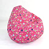 Elite's FUN PATTERNS Poly Cotton Twill PINK FLOWER BEAN BAG Kids Large...
