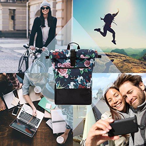 Ela Mo's Rucksack Damen   Schön und Durchdacht   für Uni Reisen Freizeit Job   mit Laptopfach & Anti Diebstahl Tasche   Blumen - 2