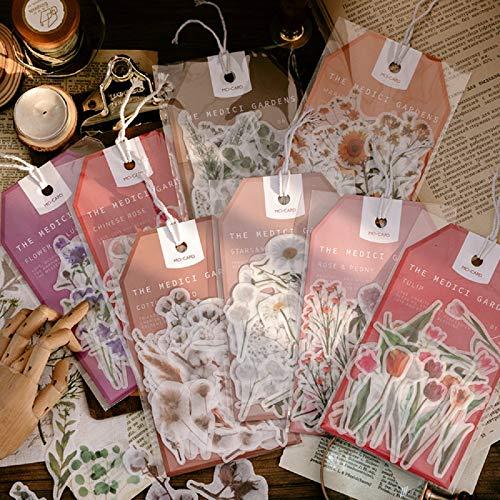 Journamm 45pcs Garden Flower Daisy Tulip Lily Ins Deco Stickers Child Gift Scrapbooking Kawaii Decorative Stationery Stickers