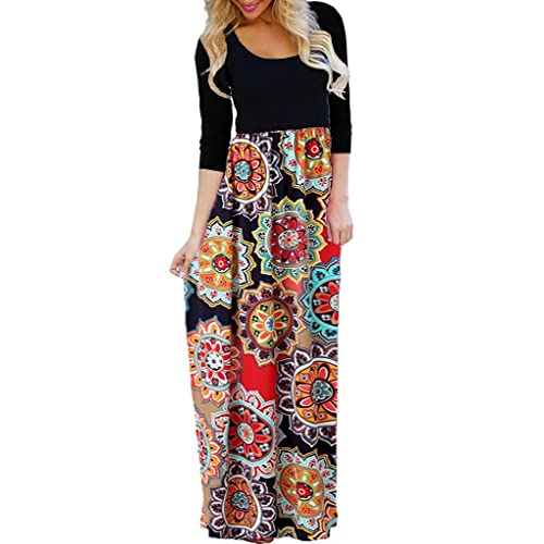 7503ccfd504 OURS Women s Casual 3 4 Sleeve Floral Print Dresses Ethnic Style Party Long  Maxi Dresses