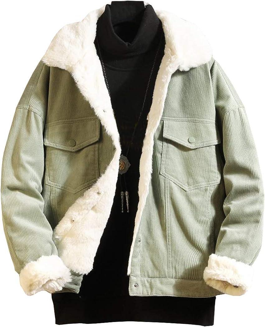 Cheap SALE Start Hixiaohe Men's Winter Fleece Reservation Lined Oversized Jacket Tru Corduroy