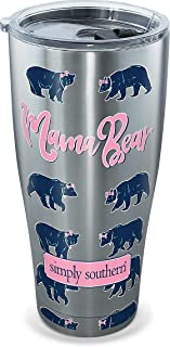 Tervis 1280913 Simply Southern Mama Bear 30 oz Stainless Steel Tumbler with lid, 30oz, Silver