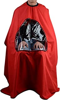 TXIN Professional Salon Barber Cape, Waterproof Hair Cutting Cape Haircut Apron With Transparent Viewing Window (Red)