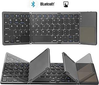 Colisal Teclado Bluetooth Tablet con Touchpad QWERTY Layout inalámbrico plegable teclado inalámbrico para PC, portátil, Smart TV, iPad, tabletas Android