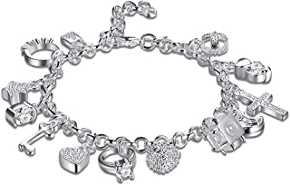 Zealmer Daycindy Multi Layer Personalized Charm Bracelets for Women, Silver