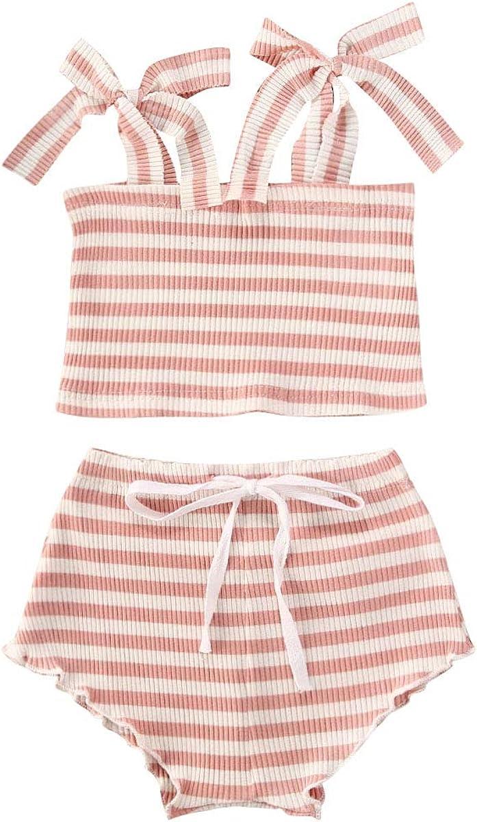 2Pcs Infant Girls Cotton Romper Outfits Knited Tie-up Tub Stripe Excellent Super-cheap