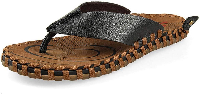 GHFJDO Men'S Flip flop Slipper, Outdoor Sandals summer Slippers Beach shoes, Breathable toe Separator Mules,Black,37EU
