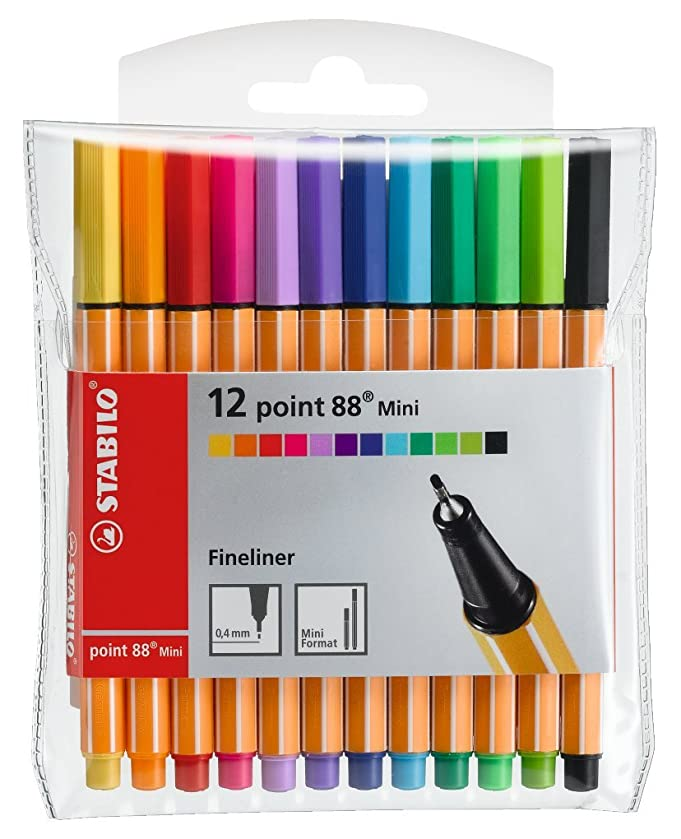 Stabilo Point 88 Mini Fineliner Pens , Set of 12 , Multicolored