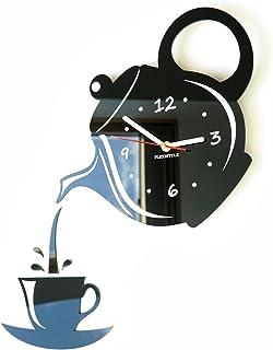 FLEXISTYLE Moderno Reloj de Pared de la Cocina Taza y Jarra Negro, 45 cm x 45 cm, 3D, Estilo Moderno, 3D silencioso, diseño