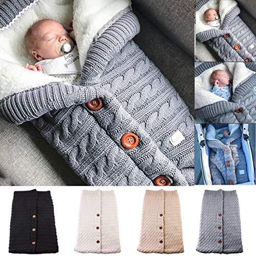 XingYue Direct Bebé recién Nacido Abrigo de Invierno Swaddle Saco de Dormir de Punto Saco de Dormir Envoltura de Cochecito para bebé (Color : Grey)