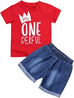 itkidboy Toddler Baby Boy Clothes First Birthday Outfit Summer T-Shirt Denim Shorts Outfits Set Clothes